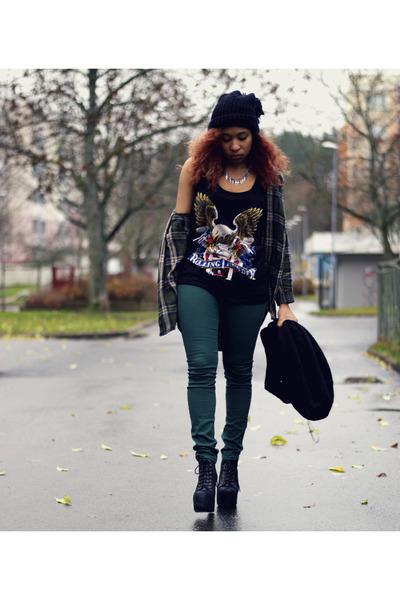 black lita Jeffrey Campbell shoes - black Bik Bok shirt - forest green H&M pants