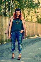 navy ginatricot sweden jeans - bronze H&M jacket - teal Jc store jumper