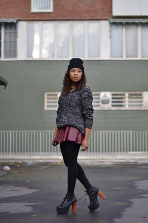 brick red PERSUNMALL skirt - black Jeffrey Campbell boots - gray H&M jumper