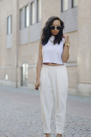 white Monki shirt - ivory Monki pants - cream Nowhere heels