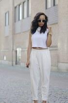 white Monki shirt - ivory Monki pants - cream Nowhere heels
