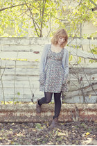 periwinkle a line dress - light brown cowboy boots boots - heather gray cardigan