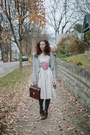 Dark-brown-ankle-granny-borne-boots-ivory-adored-vintage-dress