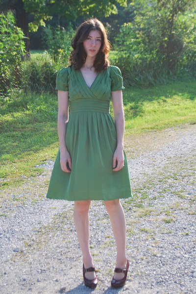 green banana republic dress - red mary janes shoes