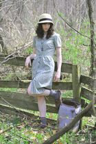 green dress - gray socks - brown shoes - yellow hat