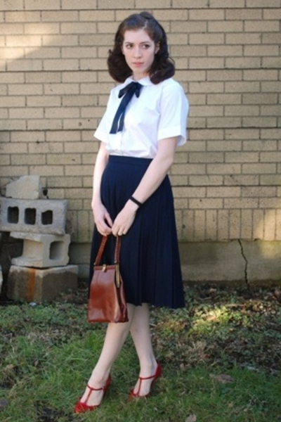 blouse - skirt - payless shoes - purse