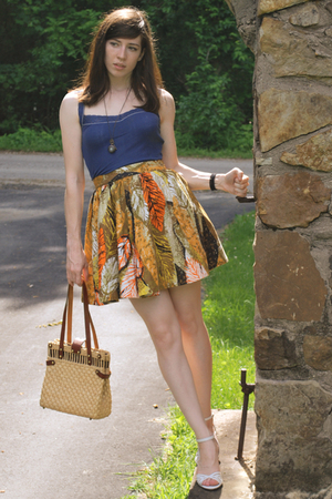 top - skirt - shoes - purse - necklace