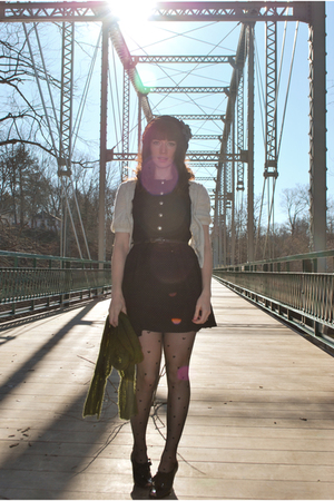 black modcloth dress - black black oxfords shoes - gray tweed coat coat