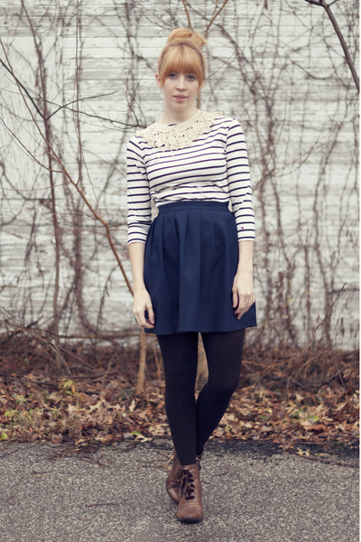 cream striped top shirt - dark brown lace up boots boots - navy skirt