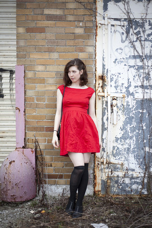 red Tulle dress - black black knee high leggings - black bag - black Urban Outfi