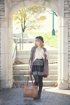 gray skirt - black boots - dark green fedora hat - neutral blouse