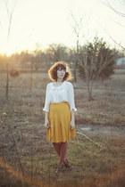 gold pleated skirt skirt - white blouse - dark brown booties heels