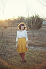White-blouse-gold-pleated-skirt-skirt-dark-brown-booties-heels