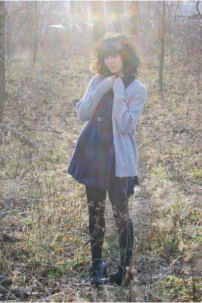 purple Urban Outfitters dress - gray Old Navy cardigan - brown accessories - bla