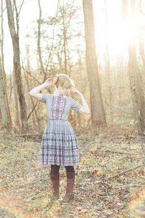 crimson Timberland boots - heather gray vintage dress dress