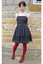 black vintage dress - black shoes - red tights