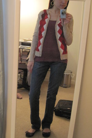 beige Merona for Target cardigan - purple Old Navy top - brown Gap shoes - blue