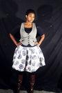 Blue-top-black-tights-gray-vest-white-skirt