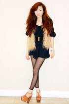 self-made vintage dress - American Apparel tights - faux fur LF vest - dany Jess