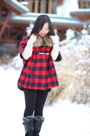 red buffalo check J Crew cape - snow the north face boots