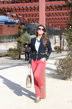 navy Zara jacket - red Pepe Jeans jeans - tan coach purse