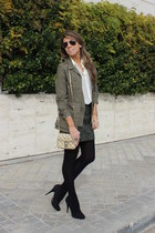 green Bijou Brigitte ring - olive green Zara jacket - gold banana republic purse