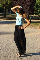 black Zara skirt - black Aldo sunglasses - white Chanel necklace