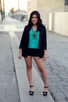 H&M blazer - lace shorts shorts - just fab heels
