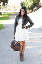 Target jacket - Sole Society boots - Forever 21 dress - Louis Vuitton purse