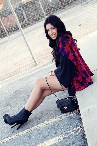 just fab boots - kimono H&M blazer