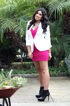 white blazer H&M blazer - pink dress Love Culture dress - Sole Society heels