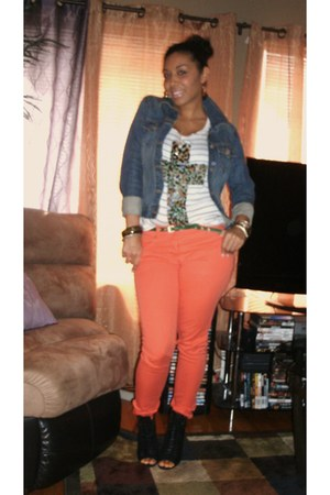 black Aldo shoes - carrot orange H&M jeans - leopard cross Forever 21 shirt