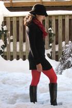 black Jcrew hat - black Bandolino boots - black Jcrew sweater