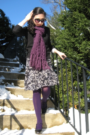 black Ann Taylor Loft sweater - gray ann taylor skirt - purple Gap scarf - purpl