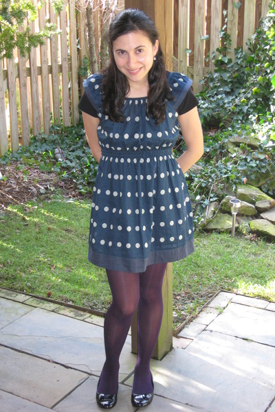 blue Anthropologie dress - purple HUE tights