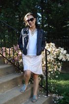 white H&M shirt - Anthropologie skirt - blue shoes - Gap jacket