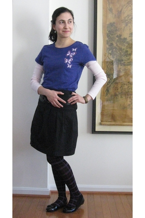 purple Target t-shirt - pink Old Navy t-shirt - black Anthropologie skirt - blac