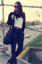 black harem pants foreign exchange pants - black ripped knit absolute cardigan -