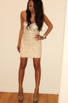 neutral H&M dress - beige Sergio Rossi heels