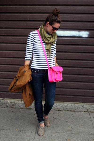 hot pink cross-body cambridge satchel bag - bronze trench madewell coat