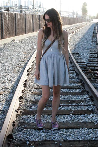 sky blue railroad stripe free people dress - dark brown jw hulme bag
