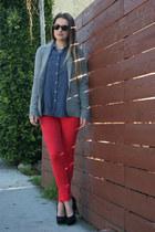 twill J Brand pants - madewell blazer - rag & bone shirt