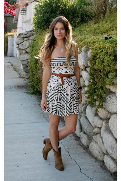 beige safari print Rachel Pally dress - camel Frye boots