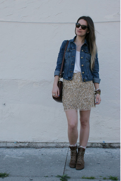 Gold Sequin Zara Skirt Brown