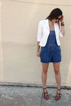white Trina Turk blazer - blue overall vintage shorts