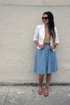 mustard printed Joie top - white cropped Trina Turk blazer