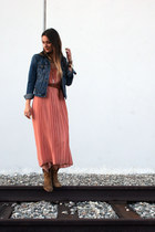 pink pleated madewell skirt - camel Frye boots - blue denim Gap jacket