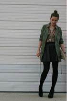 black cashmere Zara tights - army green free people jacket