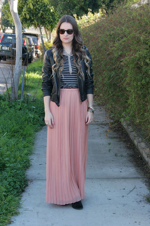 light pink pleated maxi madewell skirt - black suede Indigo by clarks boots