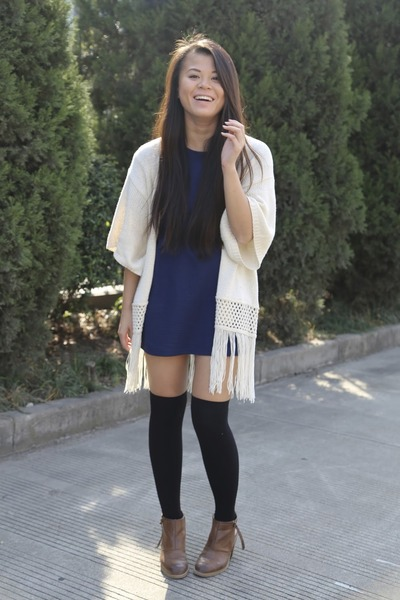 Primark cardigan - Nine West boots - Topshop dress - Forever 21 socks